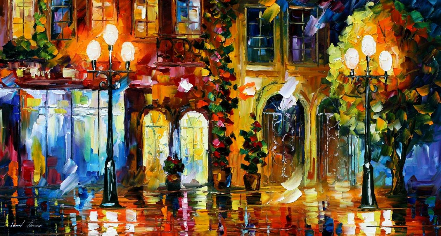 NIGHT DOORS NIGHT DOORS & NIGHT DOORS \u2014 PALETTE KNIFE Oil Painting On Canvas By Leonid Afremov ...