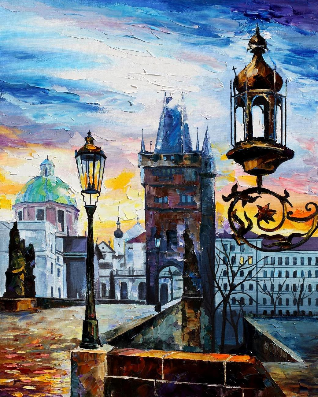 "EVENING IN PRAGUE—Original Oil Painting On Canvas By Leonid Afremov - Size 24""x30""(60cm x 75cm)"