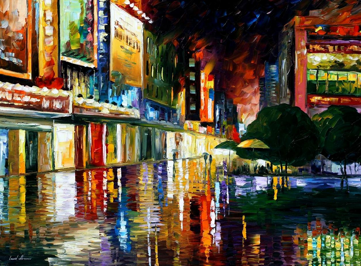 Movie theatre palette knife oil painting on canvas by for Materials for canvas painting