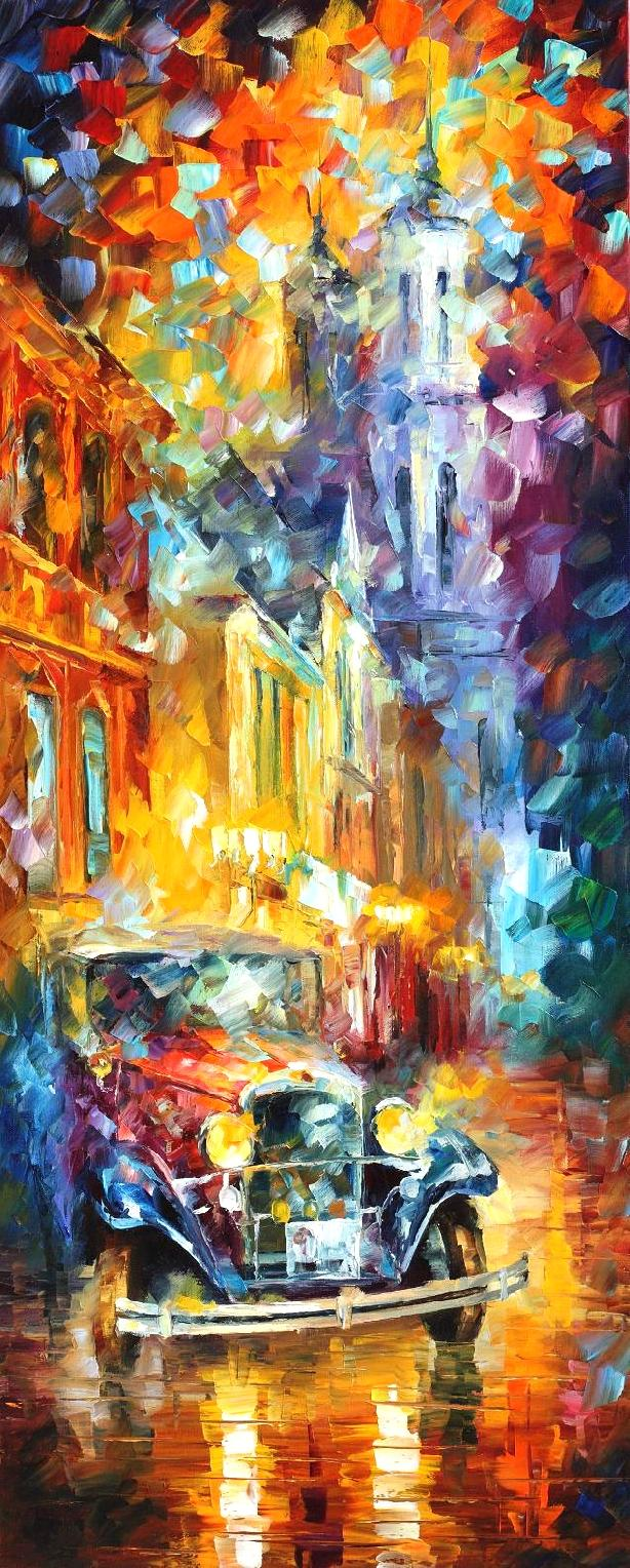 "CITY VIBES 2 - Original Oil Painting On Canvas By Leonid Afremov - 16""X40""  (40cm x 100cm)"