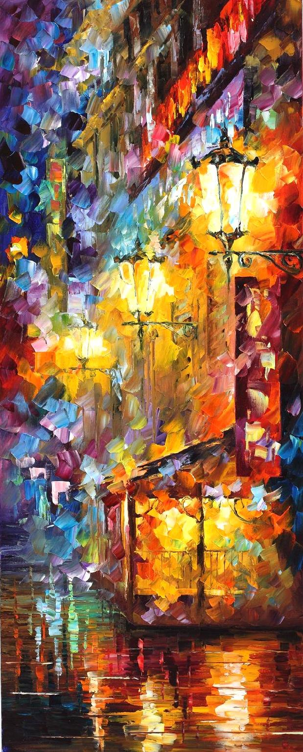 "CITY VIBES 3 - Original Oil Painting On Canvas By Leonid Afremov - 16""X40"" (40cm x 100cm)"
