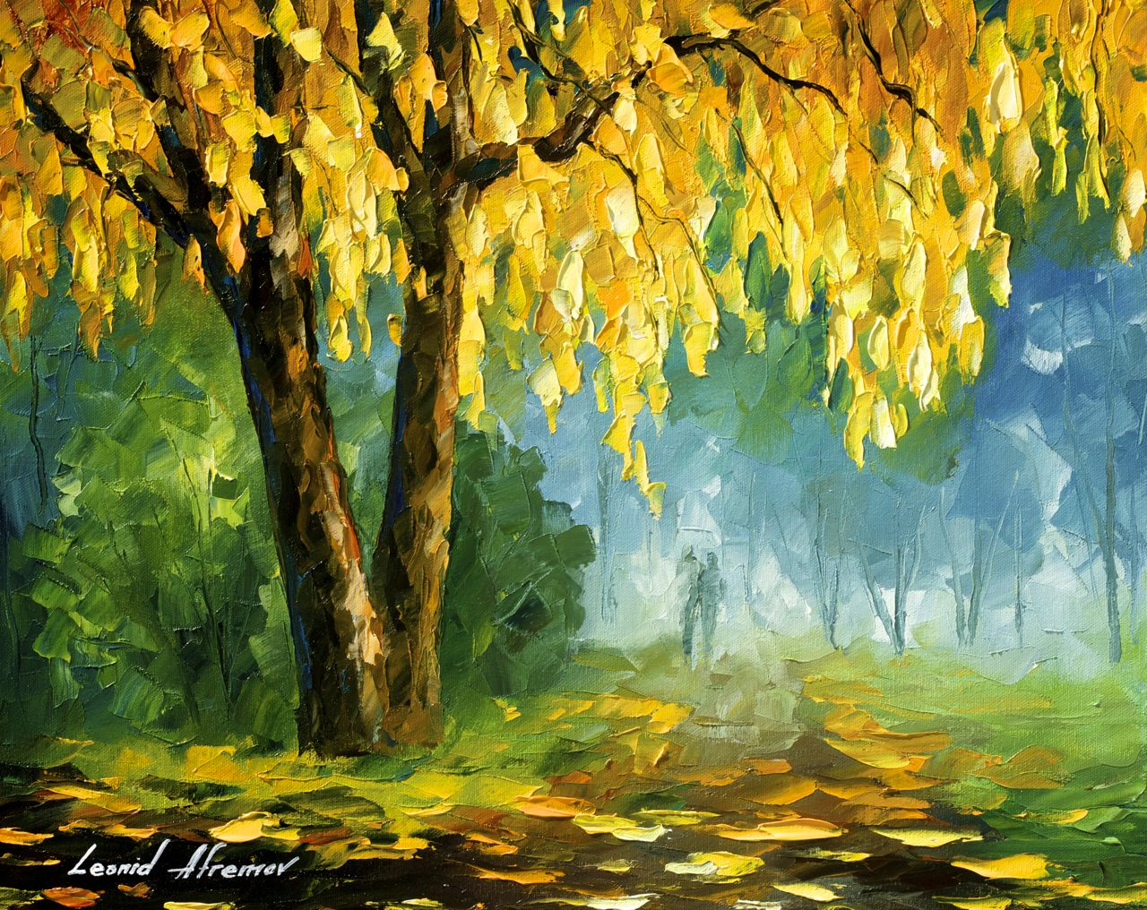 the leaves that never fall palette knife oil painting on canvas by