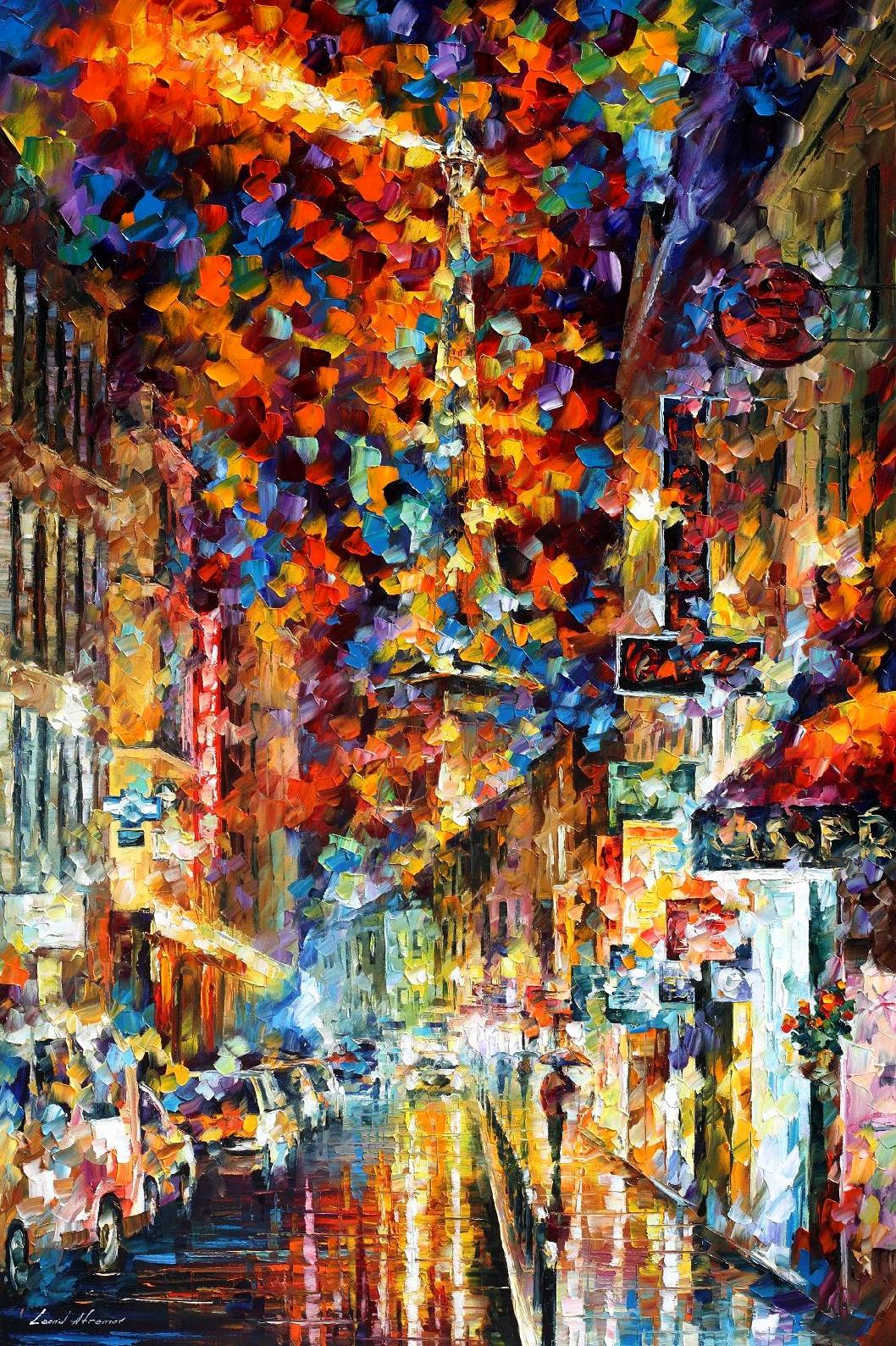 "THE NIGHT IN PARIS — PALETTE KNIFE Oil Painting On Canvas By Leonid Afremov - Size 24""x36"""