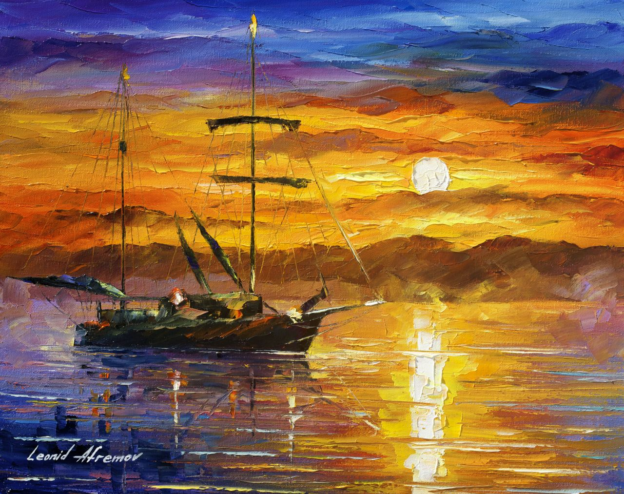 "TRUSTING THE SUN - Original Oil Painting On Canvas By Leonid Afremov - 20""x16"""