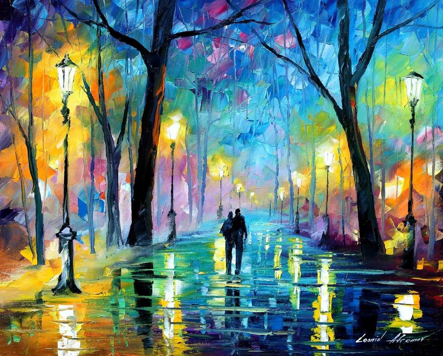 "FOG IN THE PARK  — PALETTE KNIFE Oil Painting On Canvas By Leonid Afremov - Size 48""x36"""