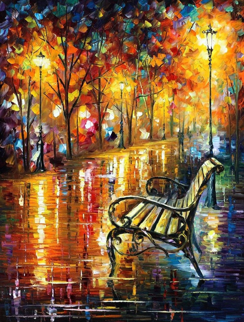 "PARK OF LOVE - Original Oil Painting On Canvas By Leonid Afremov - Size 30""X40"""