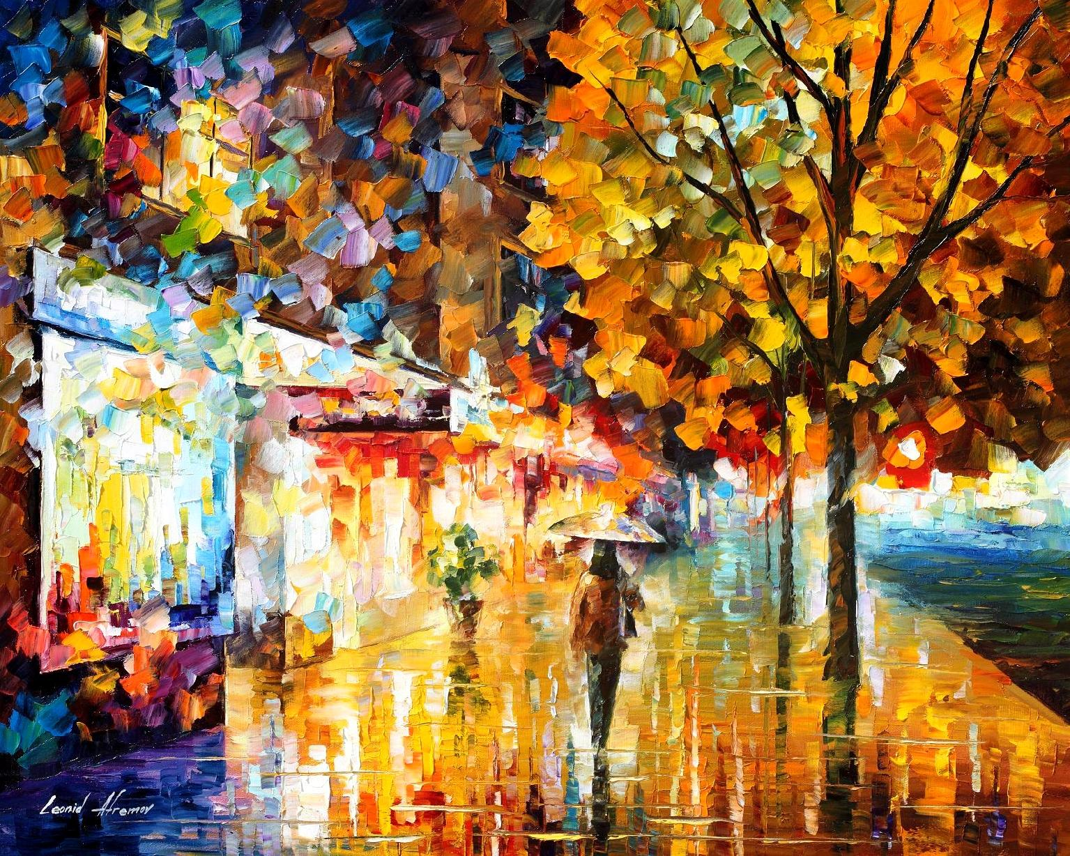City movement palette knife oil painting on canvas by for Mural on canvas