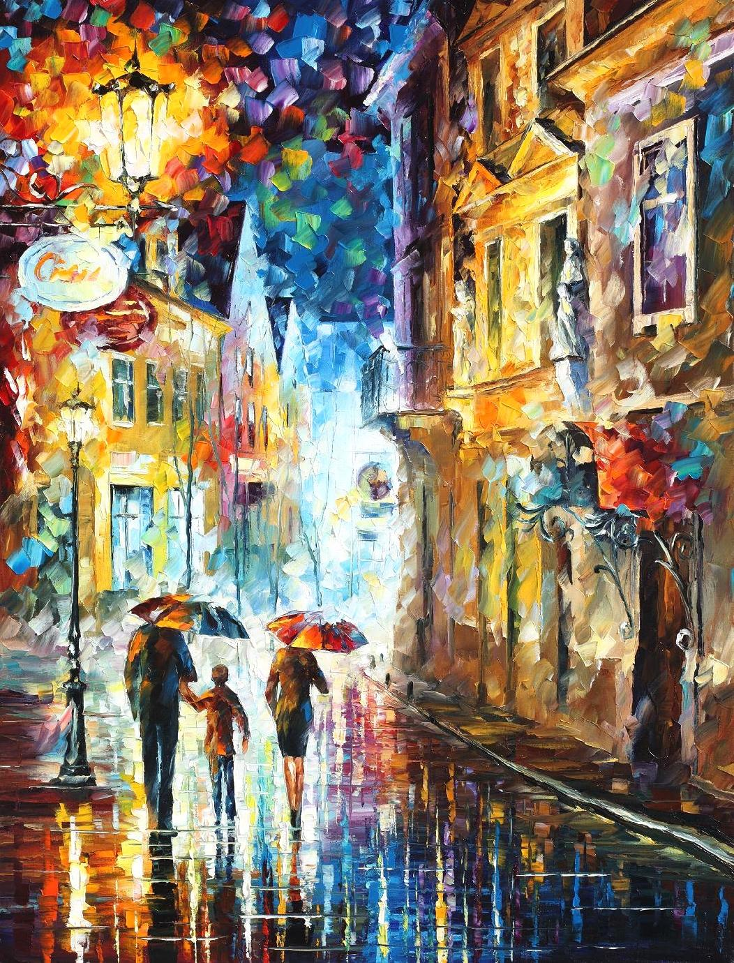 "FAMILY IN THE RAIN - Palette Knife Oil Painting On Canvas By Leonid Afremov - 30""X40"" (75cmx100cm)"