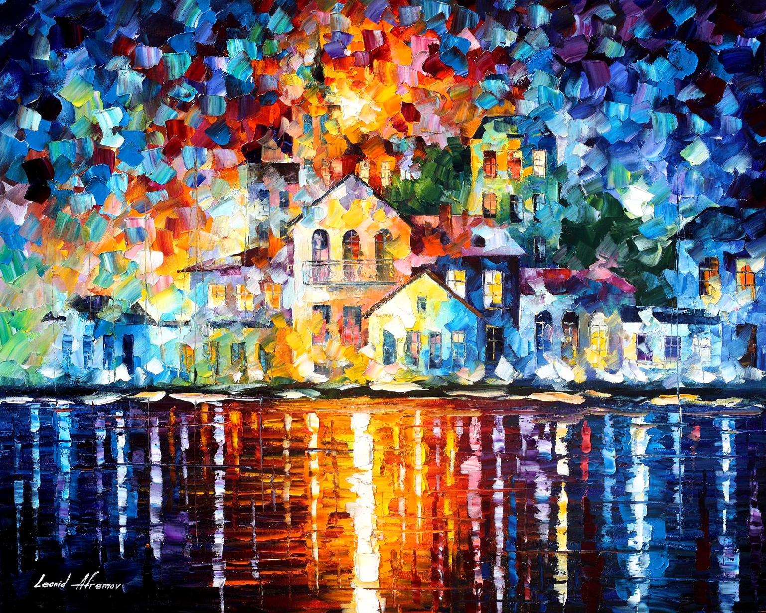 Sleepy harbor palette knife oil painting on canvas by for Contemporary mural
