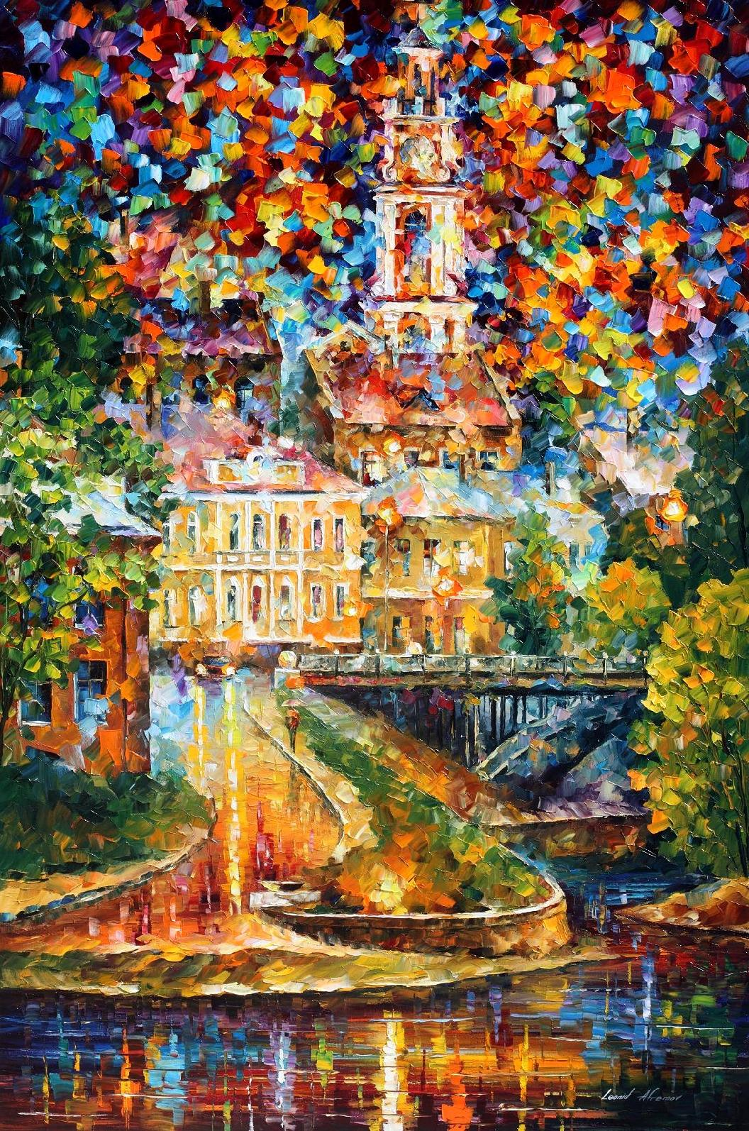"Vitebsk - Original Oil Painting On Canvas By Leonid Afremov - 32""x51"""