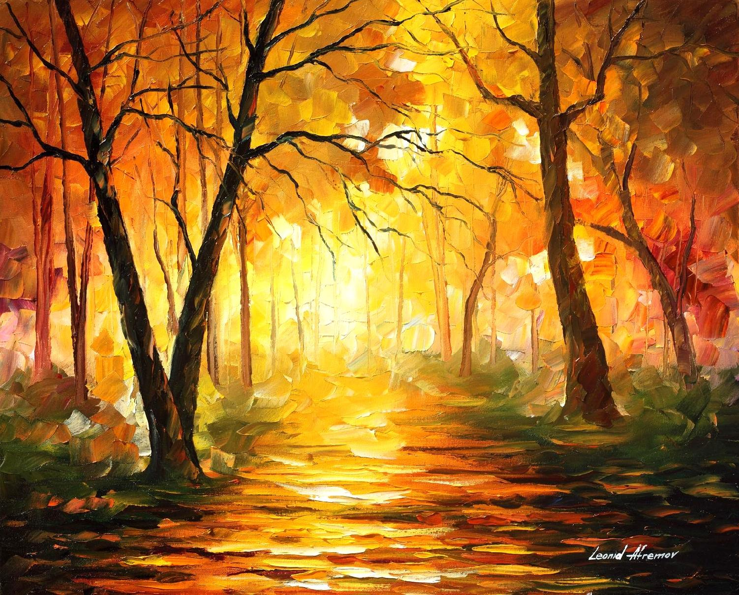 "YELLOW FOG 3 — PALETTE KNIFE Oil Painting On Canvas By Leonid Afremov - Size 30""X24"""