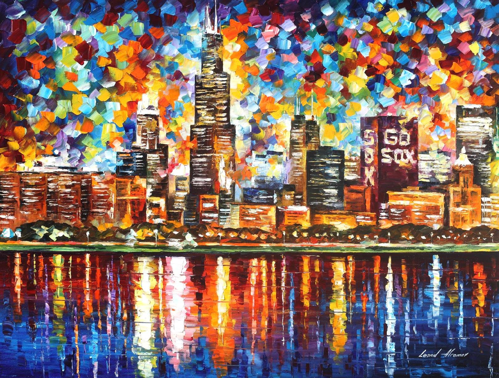 Chicago Palette Knife Oil Painting On Canvas By Leonid