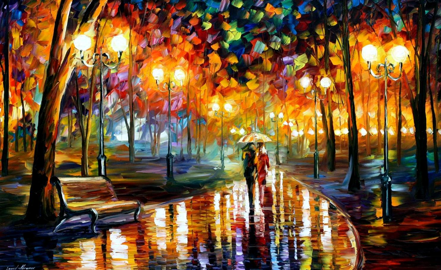"RAIN'S RUSTLE — PALETTE KNIFE Oil Painting On Canvas By Leonid Afremov - Size 72""x40"""