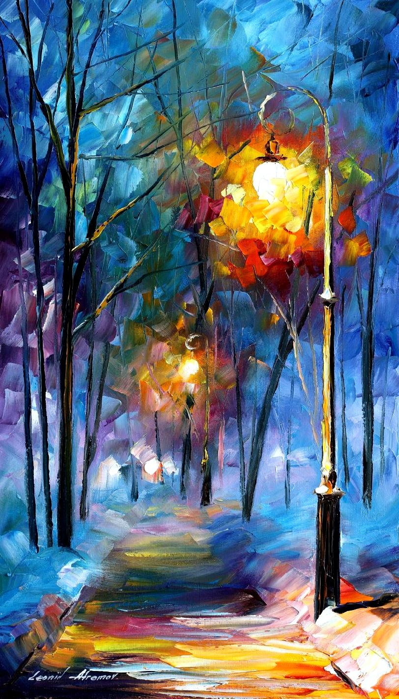 "LIGHT-OF-LUCK- PALETTE KNIFE Oil Painting On Canvas By Leonid Afremov - Size 15""x25"" (37cm x 64cm)"