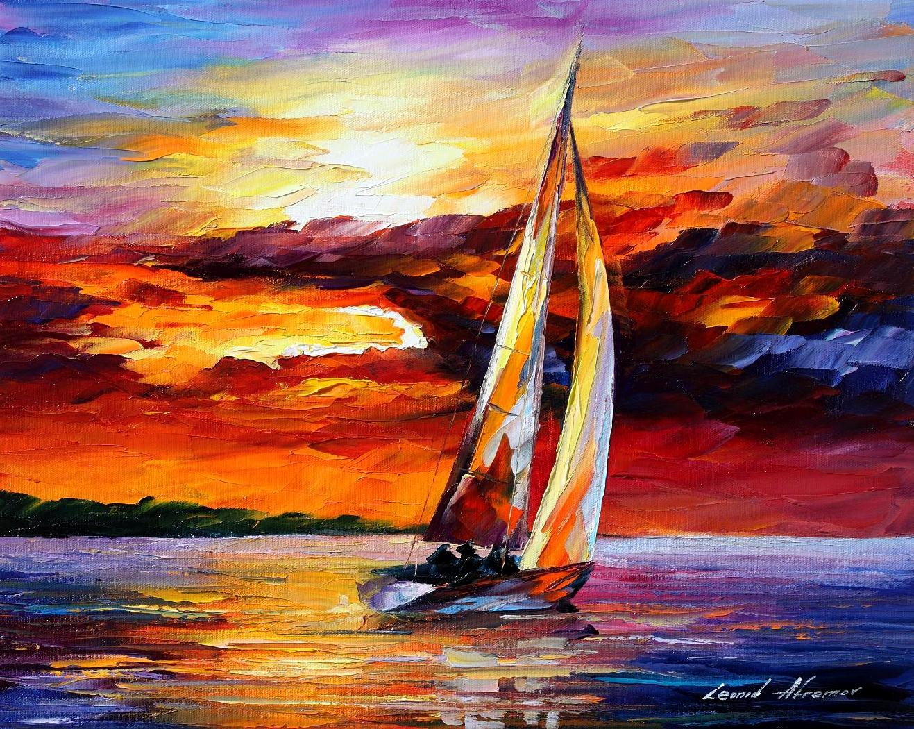 Image result for boat at sea painting night