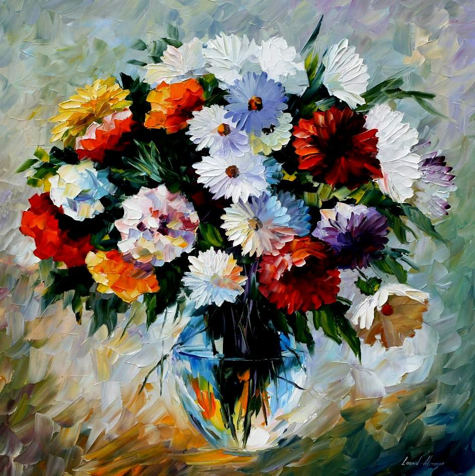 North radiance palette knife oil painting on canvas by leonid painting flowers painting flowers still life izmirmasajfo