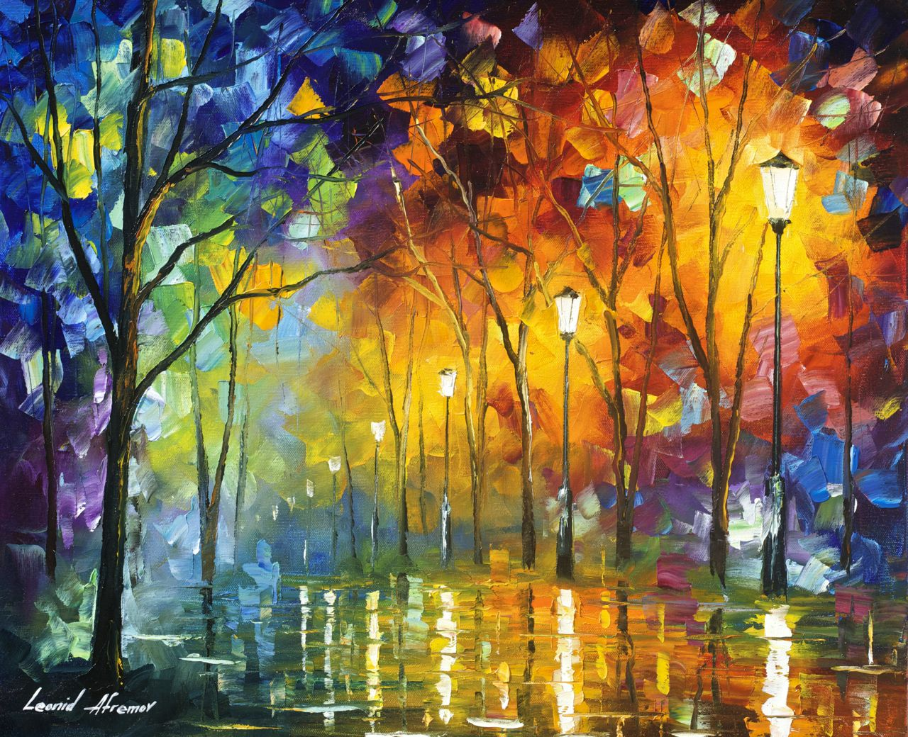 "MORNING OF THOUGHTS - Original Oil Painting On Canvas By Leonid Afremov - 20""X16"""