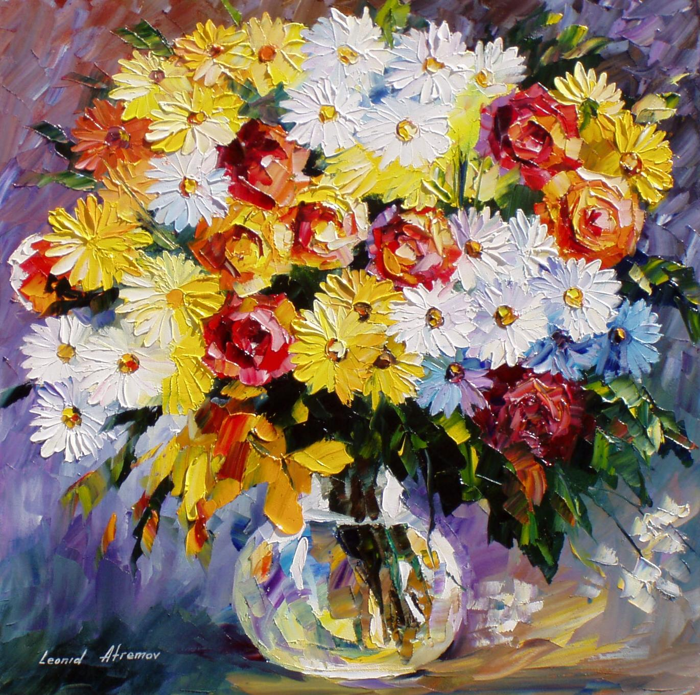 Morning Flowers Palette Knife Oil Painting On Canvas By