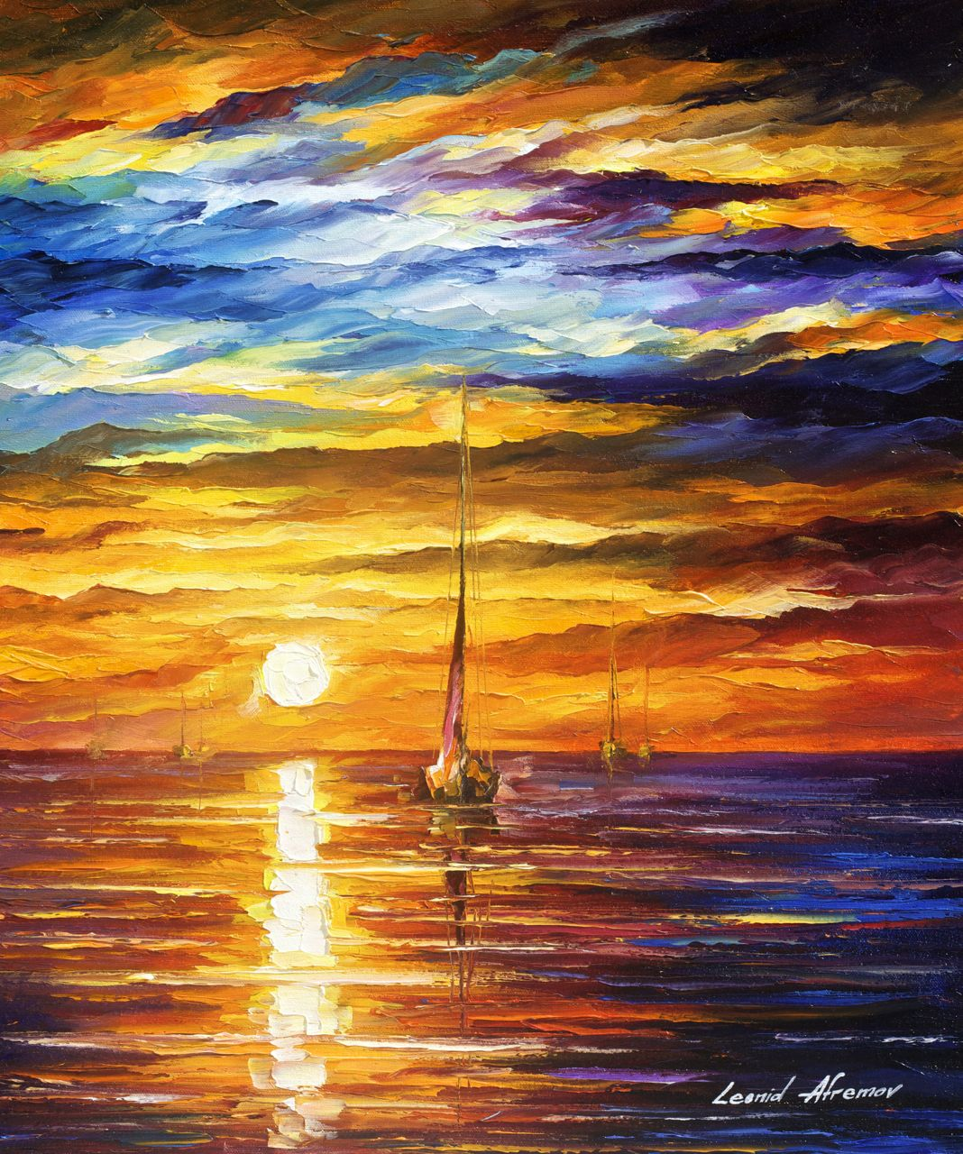 "LONELY SEA 3 - Original Oil Painting On Canvas By Leonid Afremov - 20""X24"""