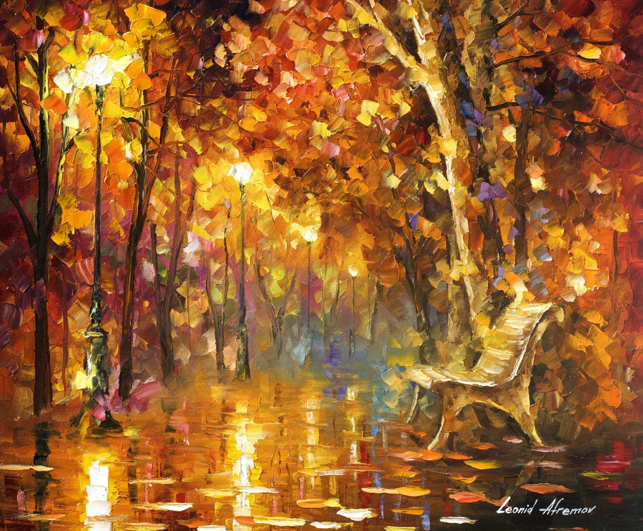 "TIME NEVER ENDS - Original Oil Painting On Canvas By Leonid Afremov - 24""X20"""