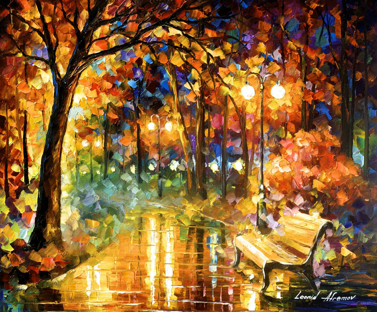"NECESSITY OF PASSION - Original Oil Painting On Canvas By Leonid Afremov - 24""X20"""