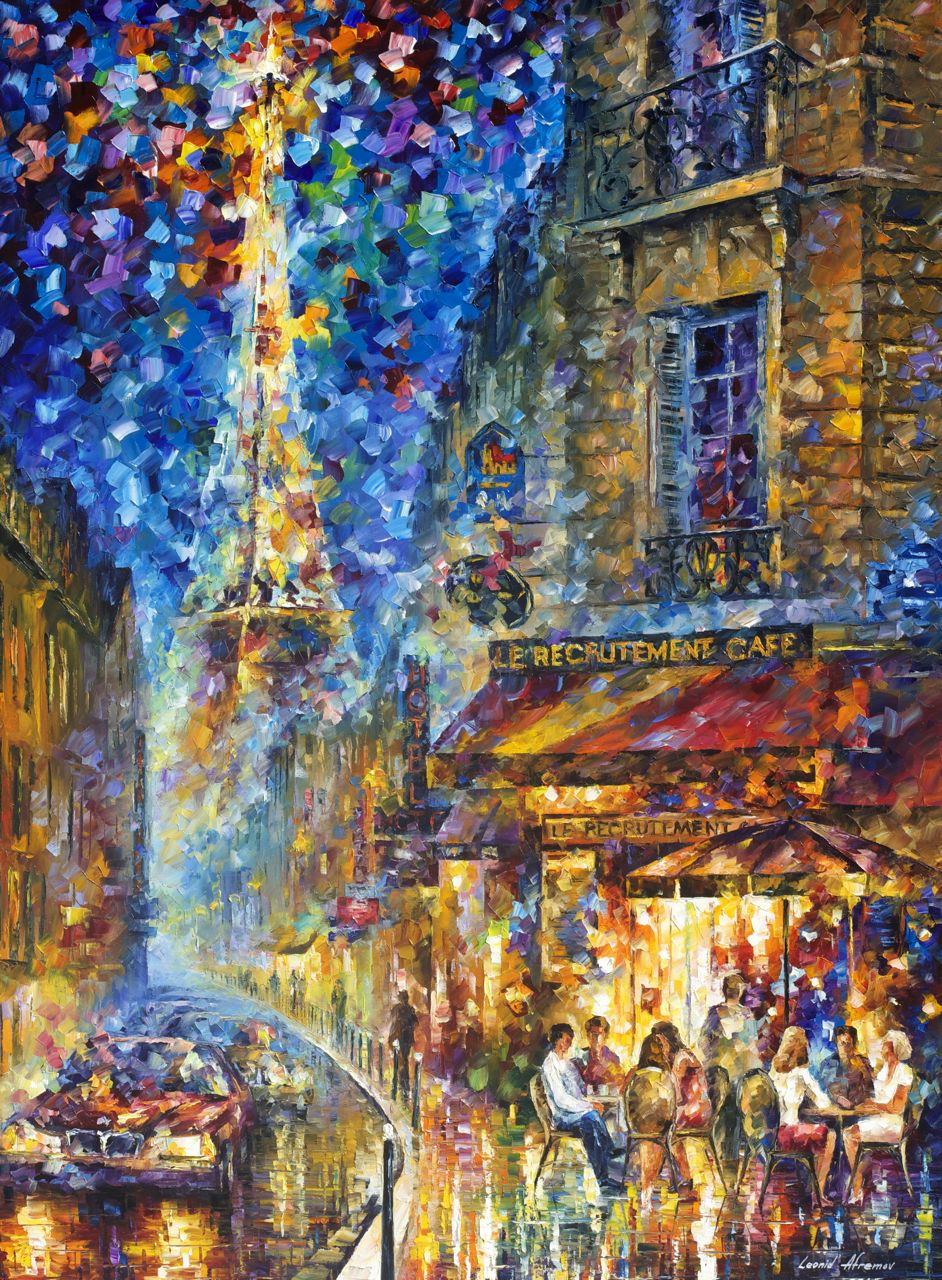 "PARIS RECRUITMENT CAFE 2  - Original Oil Painting On Canvas By Leonid Afremov - 40""X54"""