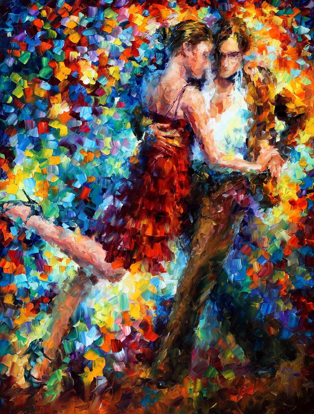 "Tango of Triumph  - Original Oil Painting On Canvas By Leonid Afremov - 24""X30"""
