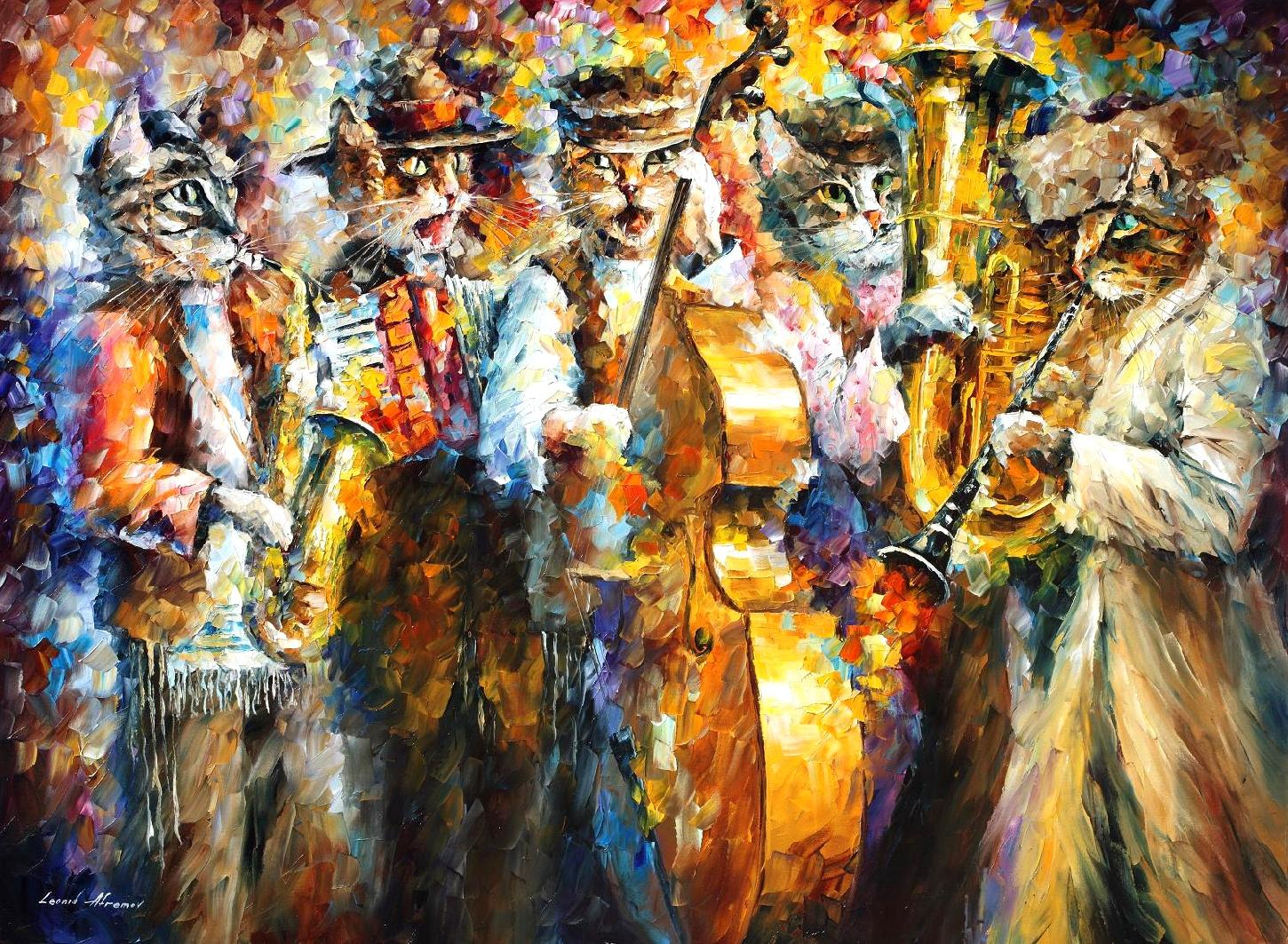 "Kleizmer cats  - Original Oil Painting On Canvas By Leonid Afremov - 57""X43"""