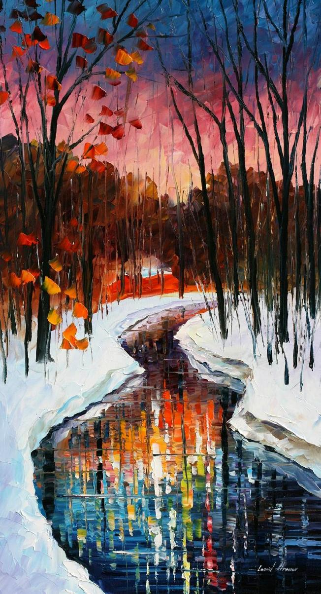 "WINTER STREAM — PALETTE KNIFE Oil Painting On Canvas By Leonid Afremov - Size 20""X36"""