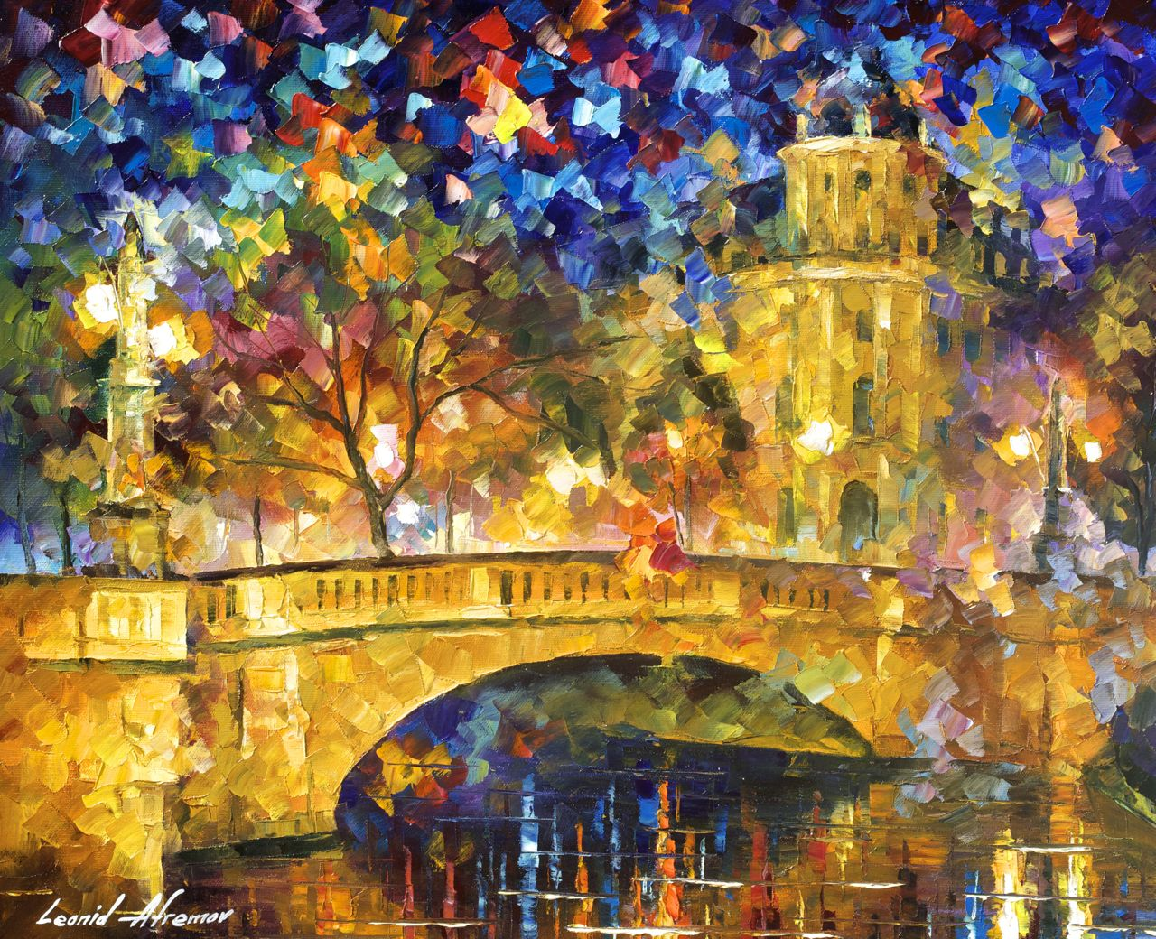 "THE BRIDGE OF RESPECT - Original Oil Painting On Canvas By Leonid Afremov - 24""X20"""