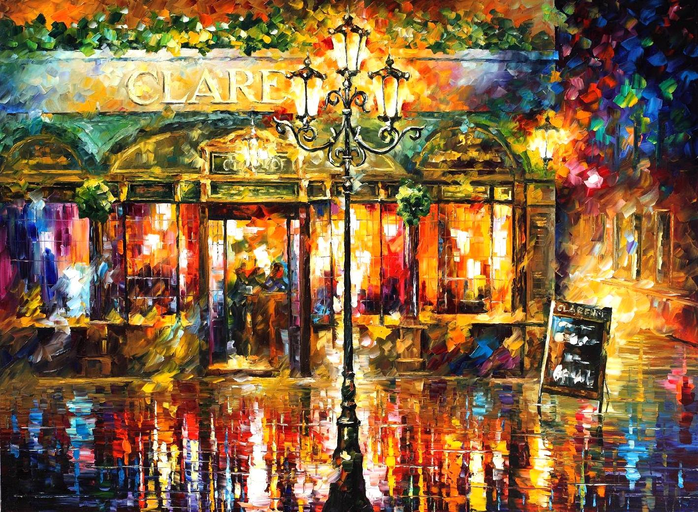 "RODNEY MISTY CAFE — PALETTE KNIFE Oil Painting On Canvas By Leonid Afremov - Size 40""x30"" (100cm x 75cm)"