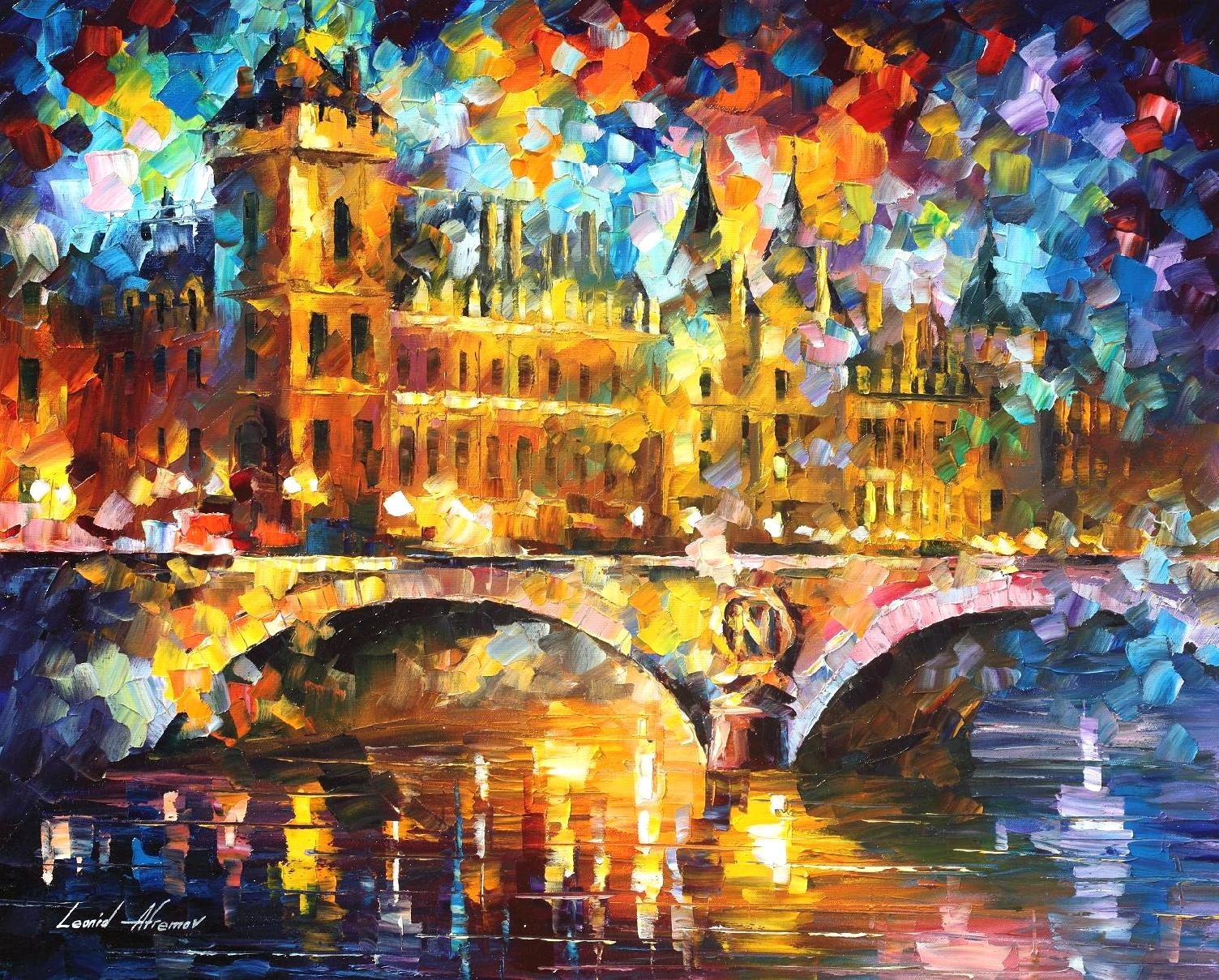 "RIVER CITY - Original Oil Painting On Canvas By Leonid Afremov - 30""X24"""