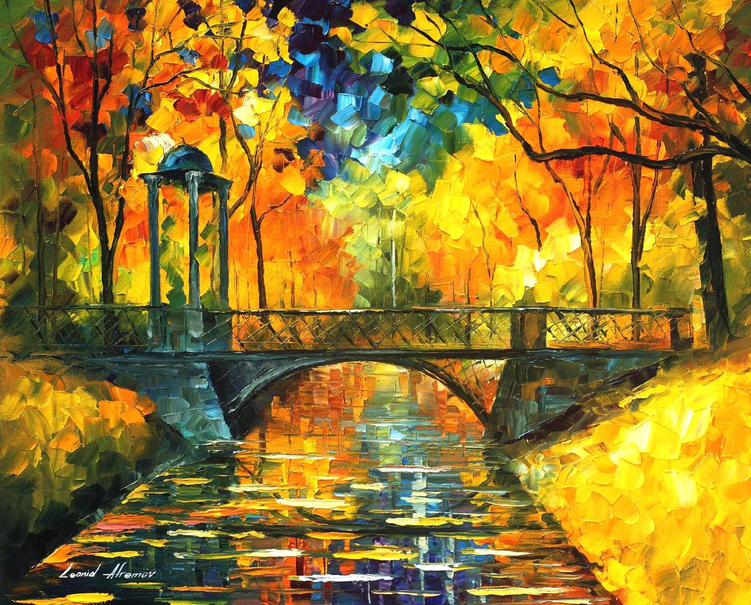 "YELLOW FALL - Original Oil Painting On Canvas By Leonid Afremov - 30""x24"""