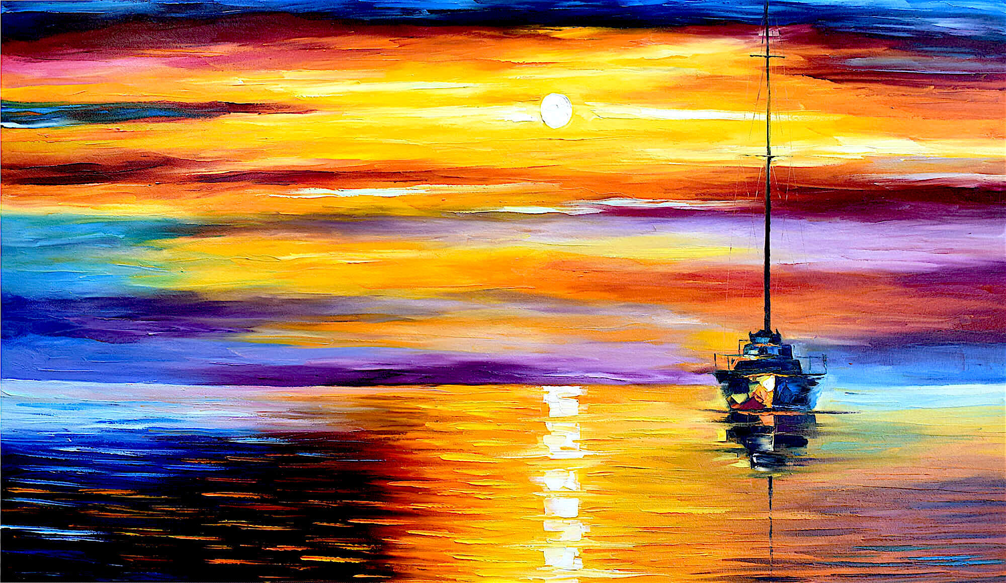 CALM SUNSET 2 — ORIGINAL Oil Painting On Canvas By Leonid Afremov ...