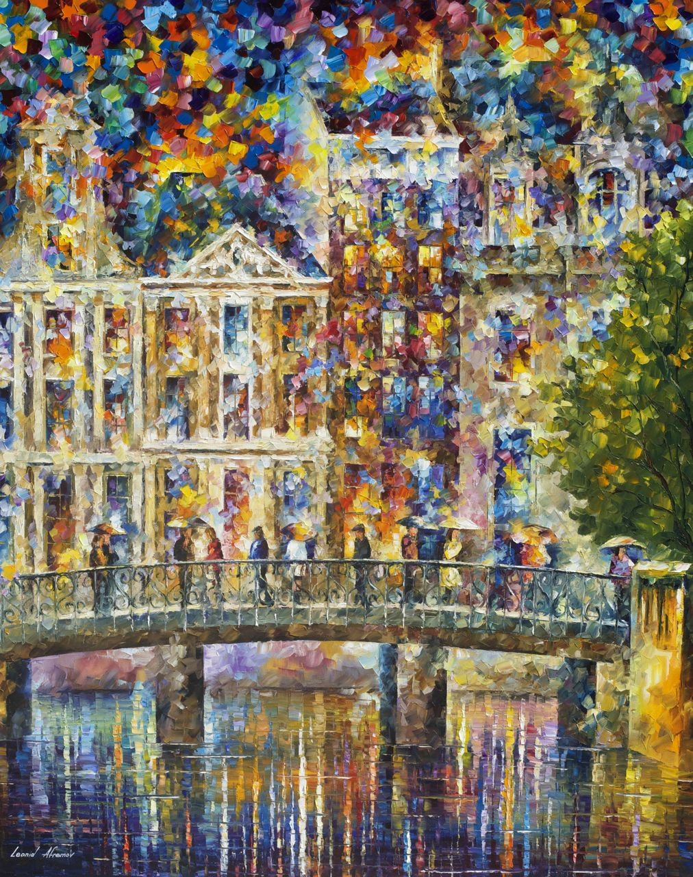 "ON THE BRIDGE IN AMSTERDAM - Original Oil Painting On Canvas By Leonid Afremov - 43""X57"""