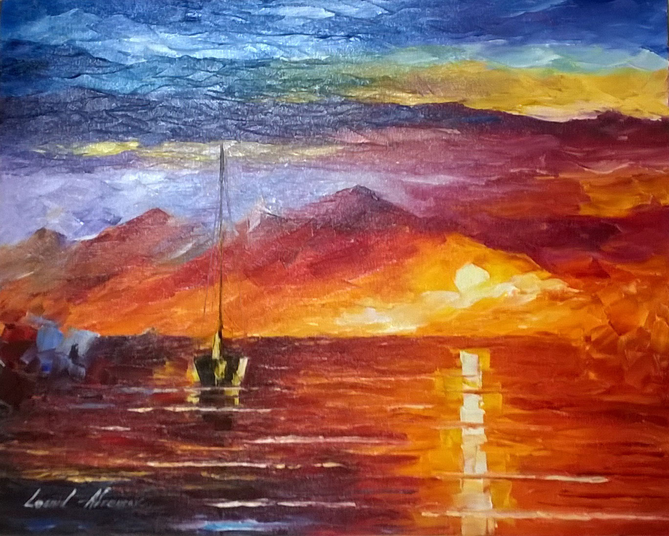 "LONELY SEA - Original Oil Painting On Canvas By Leonid Afremov - 20""x16"""