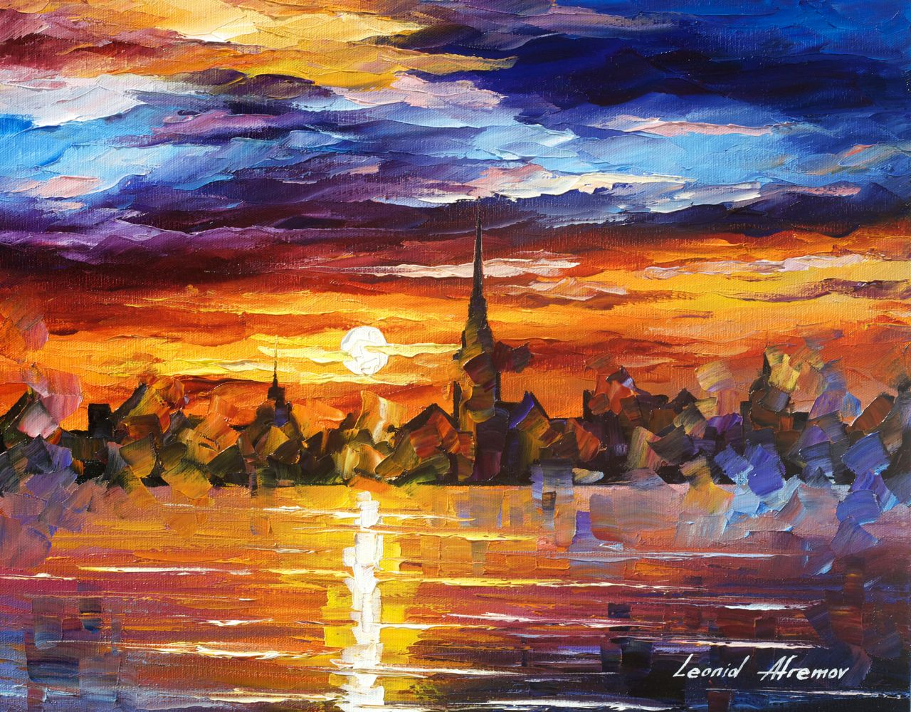 "BARCELONA - Original Oil Painting On Canvas By Leonid Afremov - 20""x16"" (50cm x 40cm)"