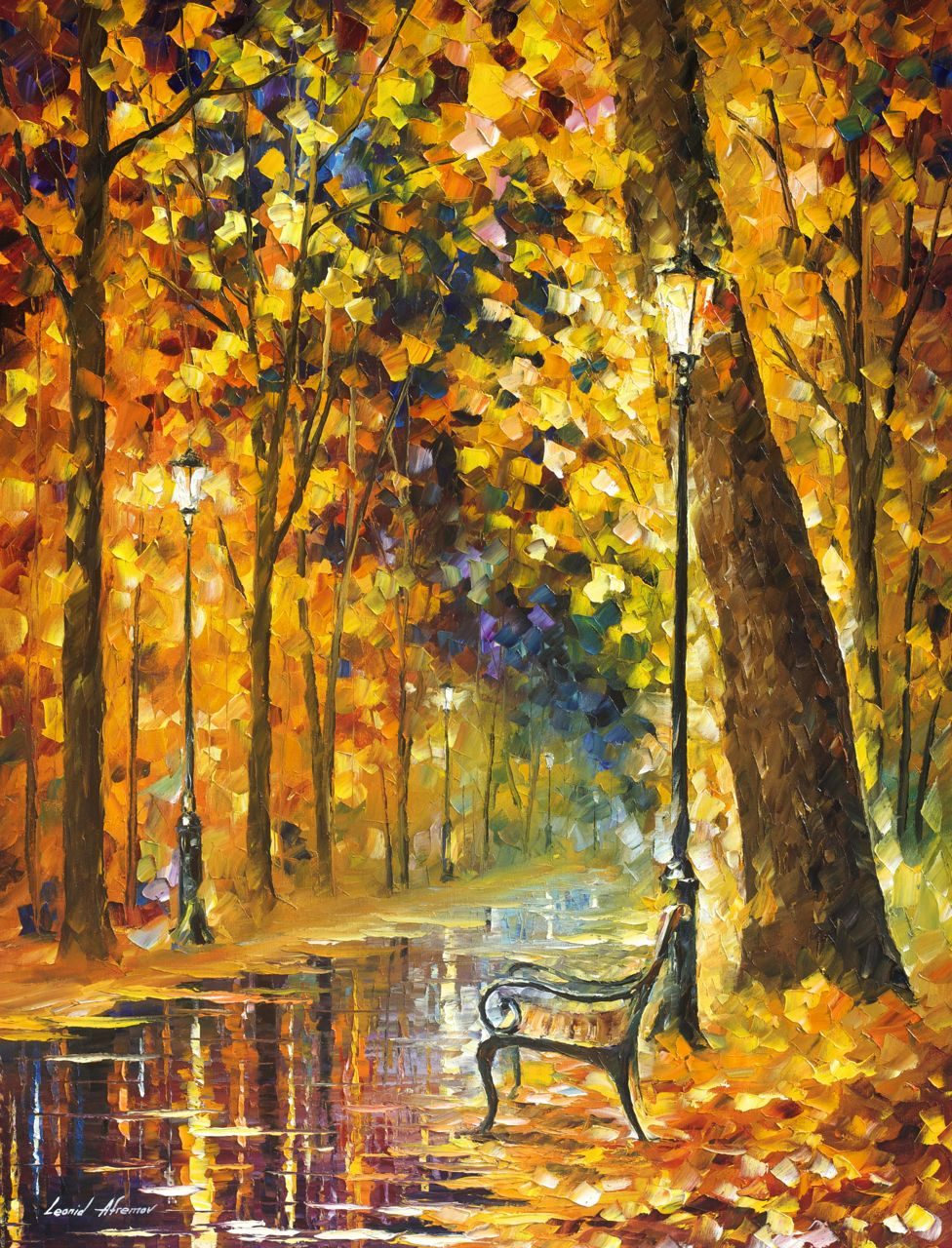 "LONELY BENCH - Original Oil Painting On Canvas By Leonid Afremov - 30""X40"""