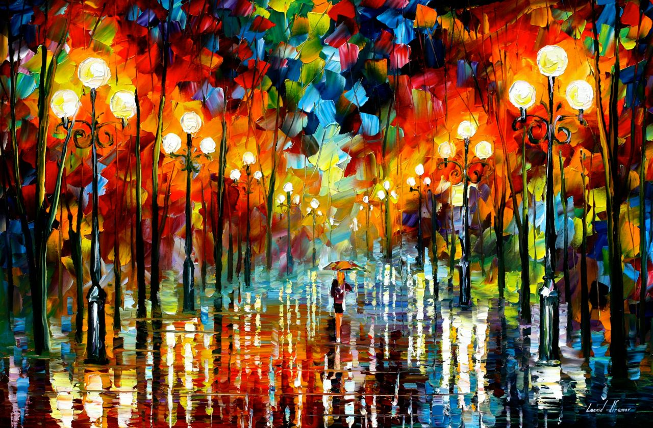 "A DATE WITH A RAIN — PALETTE KNIFE Oil Painting On Canvas By Leonid Afremov - Size 36""x24"""