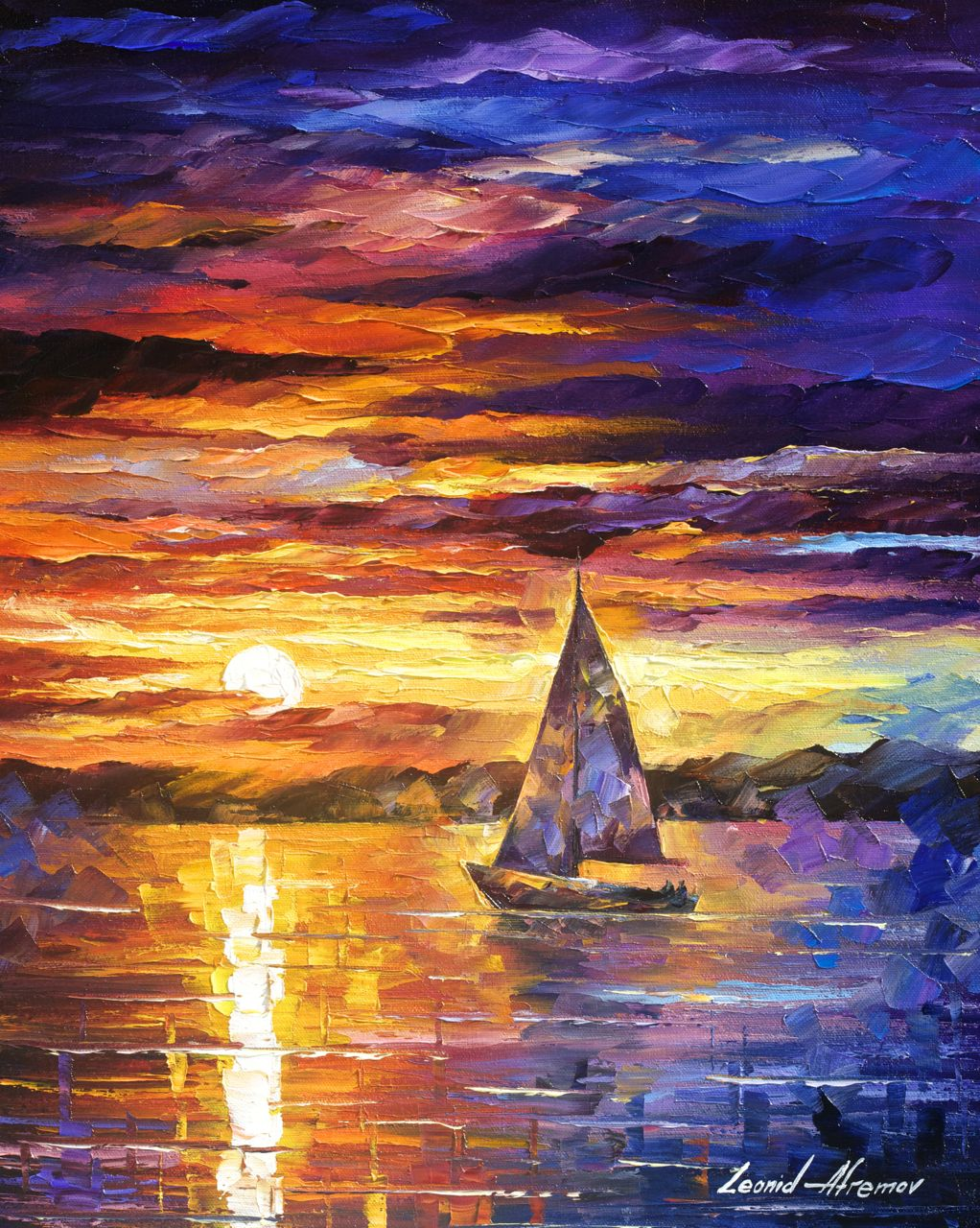 "LITTLE BOATS - Original Oil Painting On Canvas By Leonid Afremov - 16""x20"""