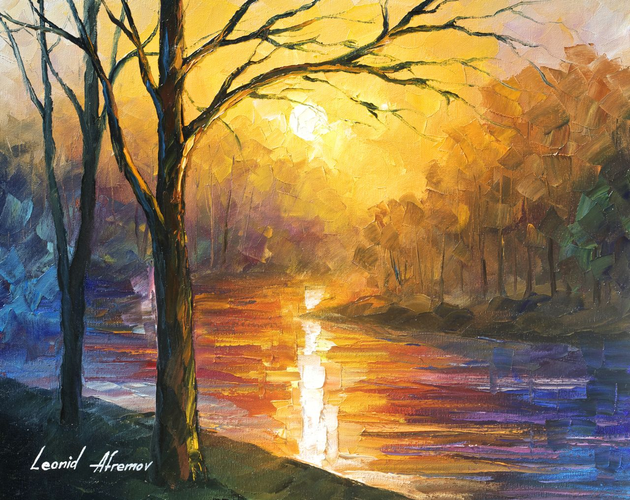 "YELLOW RIVER - Original Oil Painting On Canvas By Leonid Afremov - 20""x16"" (50cm x 40 cm)"