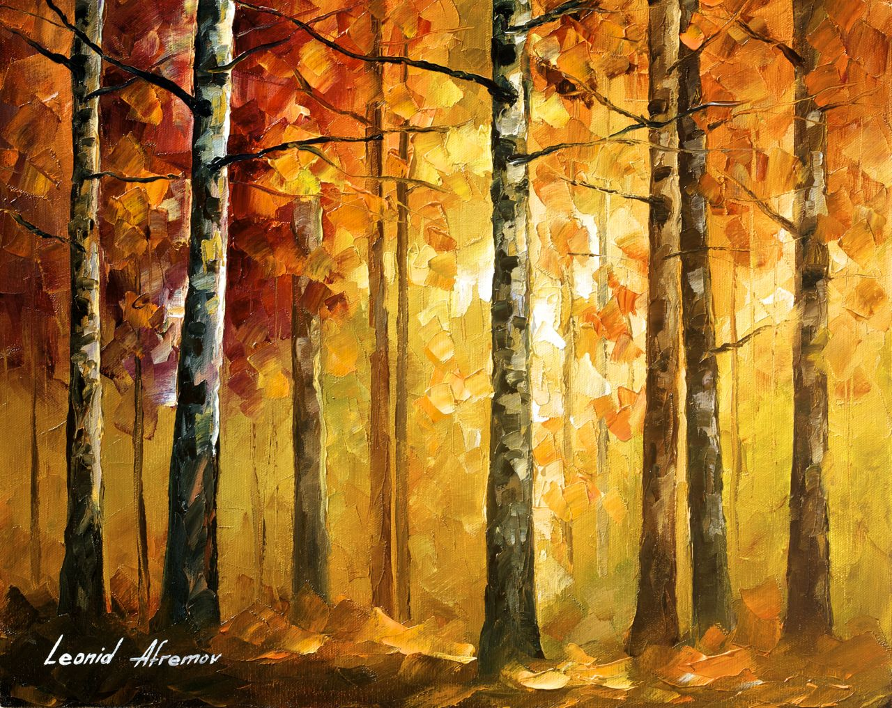 "HIDDEN TREES - Palette Knife Oil Painting On Canvas By Leonid Afremov - 20""x16"