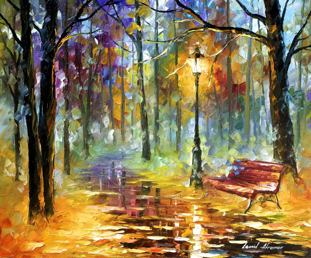 "Red bench - Original Oil Painting On Canvas By Leonid Afremov - 24""x20"""