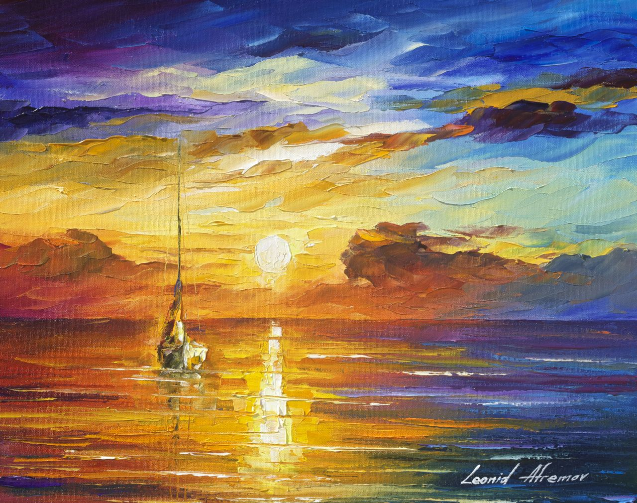 "LONELY SEA 2 - Original Oil Painting On Canvas By Leonid Afremov - 20""x16"""