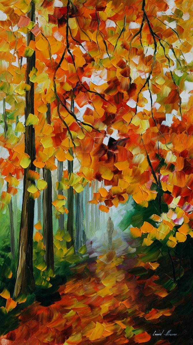 "Foggy Forest — PALETTE KNIFE Oil Painting On Canvas By Leonid Afremov - Size 20""X30"""