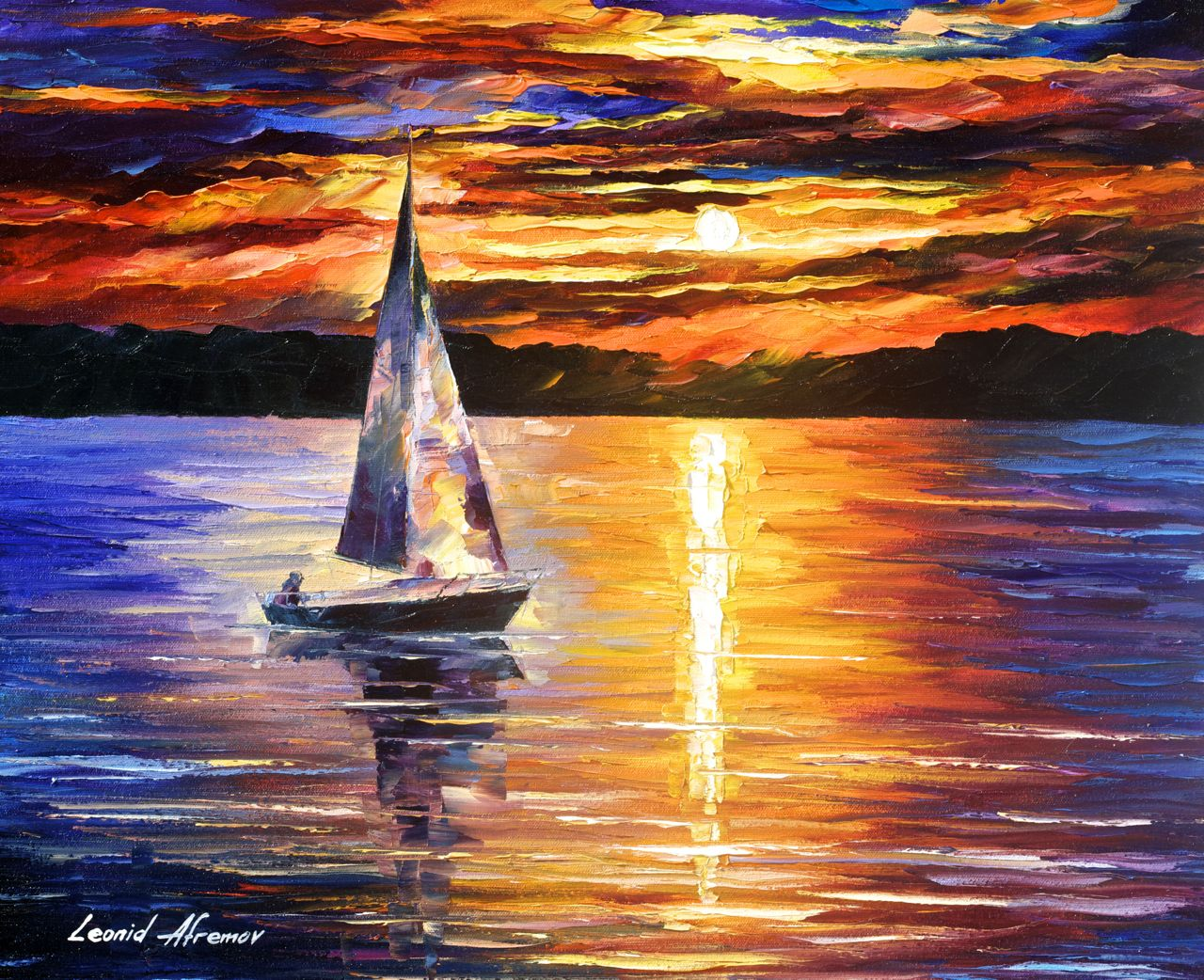 "SUNSET OVER THE LAKE - Original Oil Painting On Canvas By Leonid Afremov - 24""X20"""