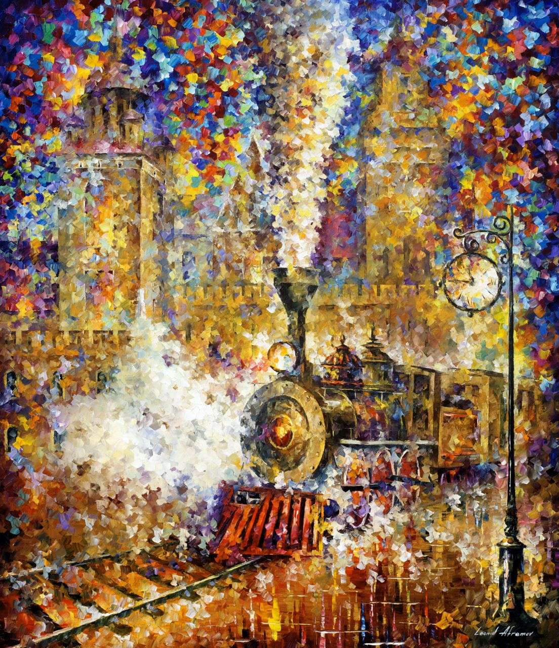 LAST TRAIN — PALETTE KNIFE Oil Painting Canvas By