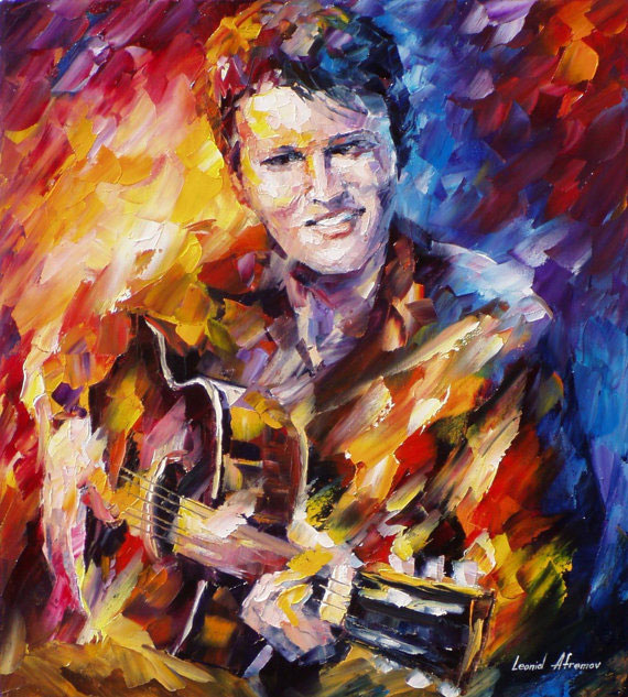 "Elvis Presley— PALETTE KNIFE Oil Painting On Canvas By Leonid Afremov - Size 24""x20""(60cm x 50cm)"