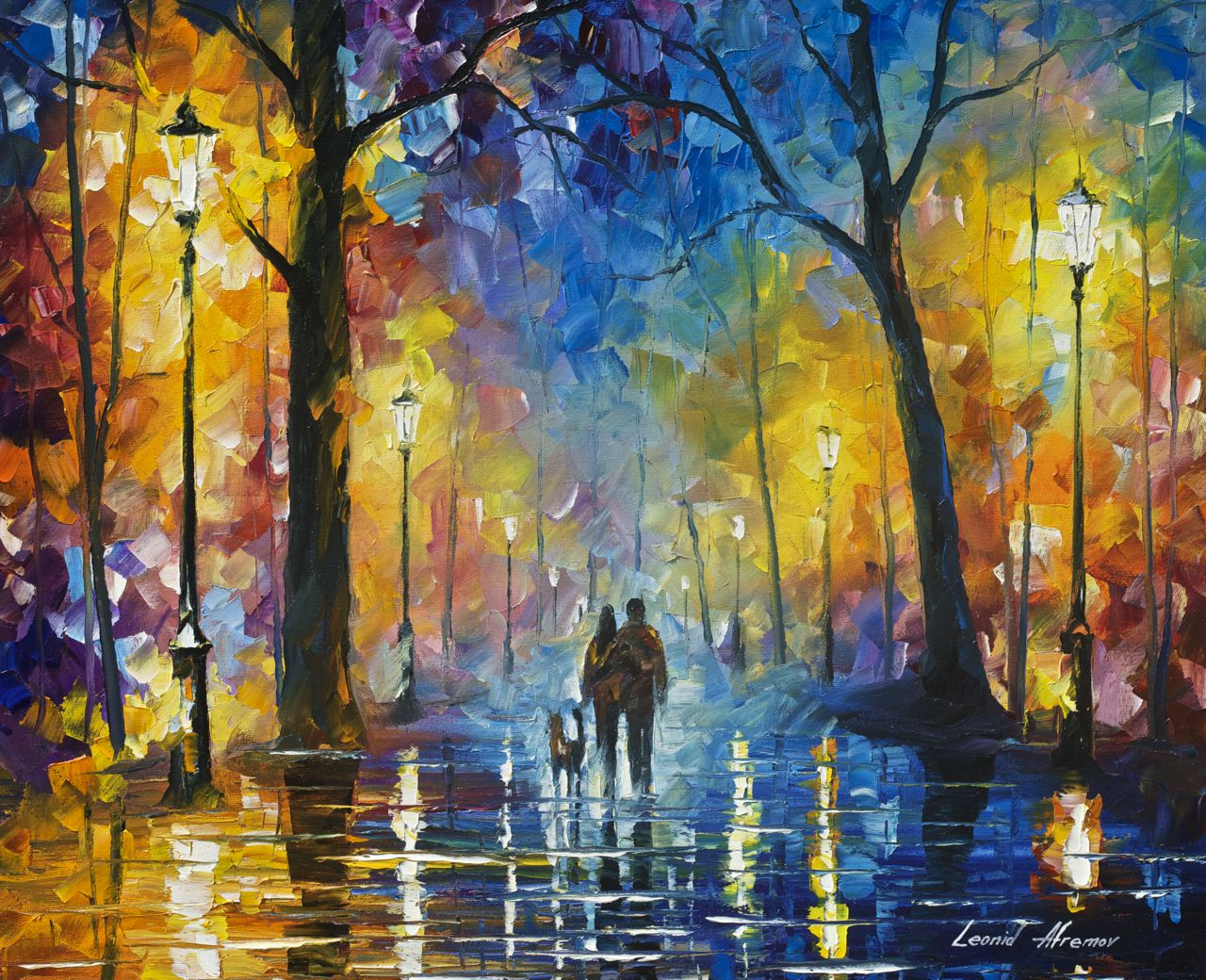 "FOG IN THE PARK 3 - Original Oil Painting - Wall Art Canvas By Leonid Afremov - 24""X20"""
