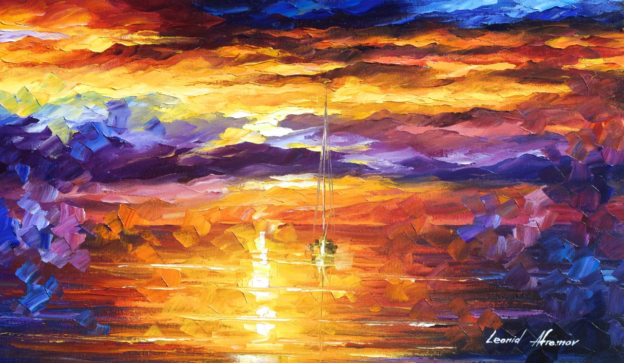 "SUNSET OF EMOTIONS - Original Oil Painting On Canvas By Leonid Afremov - 25""x15"""